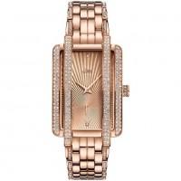 JBW Luxury Women's Mink 0.12 Carat Diamond and Swarovski Crystal Wrist Watch with Stainless Steel Bracelet